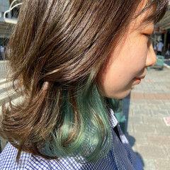 ブリーチ インナーカラー ミディアム ブリーチカラー ヘアスタイルや髪型の写真・画像
