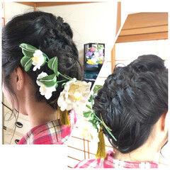 和装ヘア 成人式 セミロング 結婚式 ヘアスタイルや髪型の写真・画像