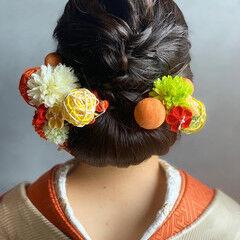 成人式ヘアメイク着付け まとめ髪 結婚式ヘアアレンジ セミロング ヘアスタイルや髪型の写真・画像