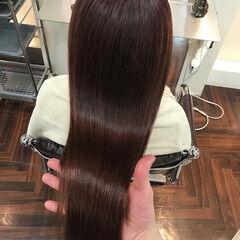 冬 ロング ハイトーン ベリーピンク ヘアスタイルや髪型の写真・画像