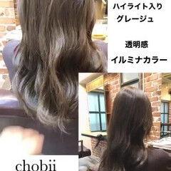 シアー 極細ハイライト ロング ナチュラル ヘアスタイルや髪型の写真・画像