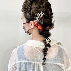 ロープ編みアレンジヘア 結婚式ヘアアレンジ ロング 編み込み ヘアスタイルや髪型の写真・画像