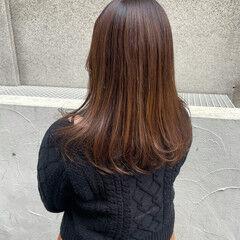セミロング ナチュラル オレンジ 大人可愛い ヘアスタイルや髪型の写真・画像