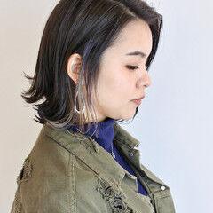 ワンレングス ボブ デザインカラー 切りっぱなしボブ ヘアスタイルや髪型の写真・画像
