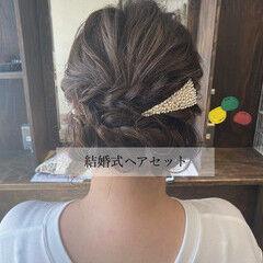 ヘアアレンジ 結婚式ヘアアレンジ 編み込みヘア 編み込み ヘアスタイルや髪型の写真・画像