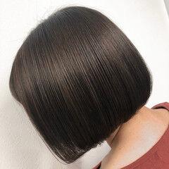ボブ 切りっぱなしボブ ママ ショートヘア ヘアスタイルや髪型の写真・画像