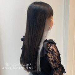 モード イヤリングカラー ポイントカラー ダブルカラー ヘアスタイルや髪型の写真・画像