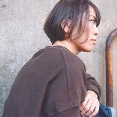 ワンカールスタイリング 前髪あり ナチュラル ショートボブ ヘアスタイルや髪型の写真・画像