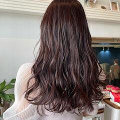 ロング ピンクベージュ チョコレート ピンクブラウン ヘアスタイルや髪型の写真・画像