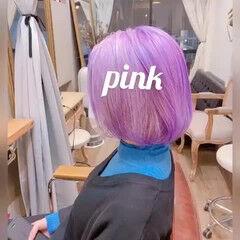 ストリート ボブ ショートボブ ラベンダーアッシュ ヘアスタイルや髪型の写真・画像