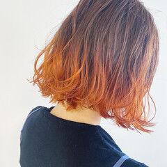 ボブ オレンジベージュ パステルカラー グラデーション ヘアスタイルや髪型の写真・画像