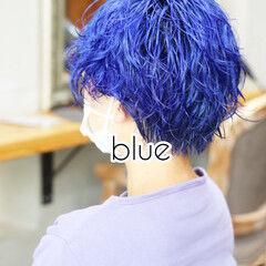 ブルーアッシュ ストリート ショート インナーブルー ヘアスタイルや髪型の写真・画像
