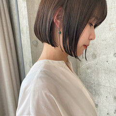 ショートボブ 艶髪 艶カラー ナチュラル ヘアスタイルや髪型の写真・画像
