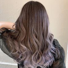 ピンクラベンダー グラデーションカラー セミロング ピンクカラー ヘアスタイルや髪型の写真・画像