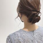 ヘアセット フェミニン ミディアム 結婚式ヘアアレンジ