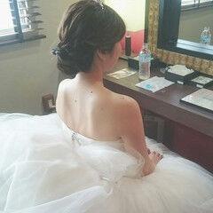 ヘアアレンジ 上品 ドレス セミロング ヘアスタイルや髪型の写真・画像