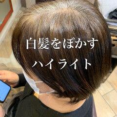 白髪染め インナーカラー エレガント 大人ハイライト ヘアスタイルや髪型の写真・画像