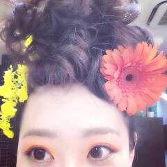 黒髪 ヘアアレンジ 花 ヘアスタイルや髪型の写真・画像