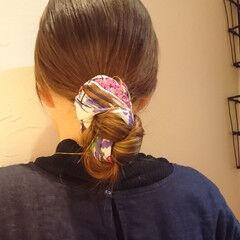 バンダナ セミロング オシャレ ヘアアレンジ ヘアスタイルや髪型の写真・画像