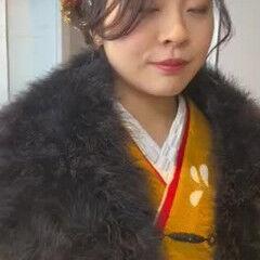 モード フィンガーウェーブ セミロング 成人式 ヘアスタイルや髪型の写真・画像