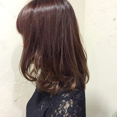 ガーリー 秋 ミディアム ピンク ヘアスタイルや髪型の写真・画像