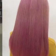 ハイトーン ピンク ピンクカラー デザインカラー ヘアスタイルや髪型の写真・画像