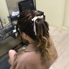 ロング デート ポニーテール ガーリー ヘアスタイルや髪型の写真・画像