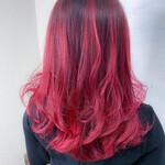 レッド バレイヤージュ 美髪 グラデーションカラー