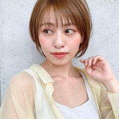 小顔ヘア ナチュラル デジタルパーマ ショート ヘアスタイルや髪型の写真・画像