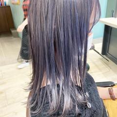 ラベンダーグレージュ ミディアム フェミニン ラベンダーカラー ヘアスタイルや髪型の写真・画像