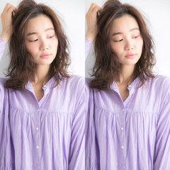 ミディアム デジタルパーマ パーマ ゆるふわパーマ ヘアスタイルや髪型の写真・画像