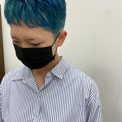 モード ターコイズブルー ハイトーン ターコイズ ヘアスタイルや髪型の写真・画像