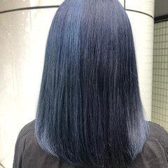 ミディアム イルミナカラー ネイビー ガーリー ヘアスタイルや髪型の写真・画像