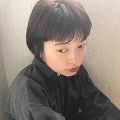 モード 黒髪 抜け感 ショートバング ヘアスタイルや髪型の写真・画像
