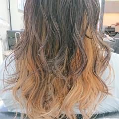 セミロング デザインカラー ブリーチ必須 透明感 ヘアスタイルや髪型の写真・画像