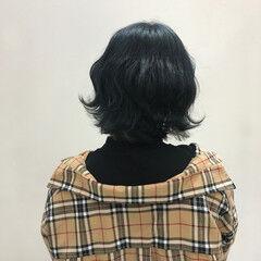 ボブ ネイビーカラー ブルーブラック ネイビー ヘアスタイルや髪型の写真・画像
