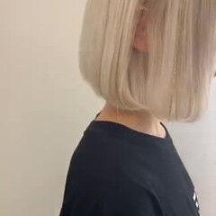 フェミニン トレンド 透明感カラー ボブ ヘアスタイルや髪型の写真・画像