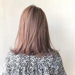 ミディアム ツヤ髪 ハイトーンカラー ナチュラル