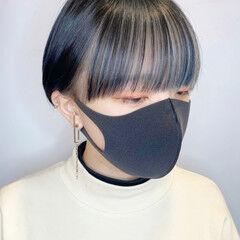 ハイトーンカラー インナーカラー ショート コントラストハイライト ヘアスタイルや髪型の写真・画像