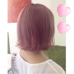 ストリート ボブ ピンク 春 ヘアスタイルや髪型の写真・画像