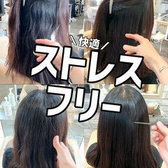 セミロング 髪質改善 グレージュ ストレート ヘアスタイルや髪型の写真・画像