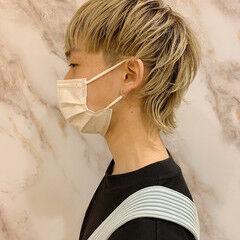 ハイトーンカラー ショート メンズヘア ウルフカット ヘアスタイルや髪型の写真・画像
