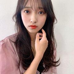 ロング ナチュラル レイヤーロングヘア 韓国風ヘアー ヘアスタイルや髪型の写真・画像