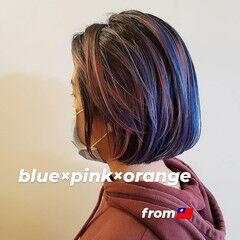 インナーカラー ハイトーンカラー モード ボブ ヘアスタイルや髪型の写真・画像
