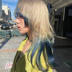 セミロング ホワイトブリーチ ニュアンスウルフ モード ヘアスタイルや髪型の写真・画像