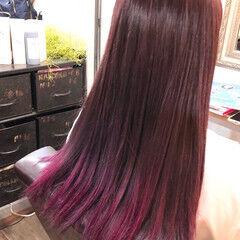 モテ髪 裾カラー ガーリー チェリーピンク ヘアスタイルや髪型の写真・画像