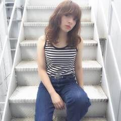 愛され セミロング マルサラ モテ髪 ヘアスタイルや髪型の写真・画像