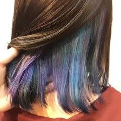 インナーカラー マーメイドアッシュ ガーリー セミロング ヘアスタイルや髪型の写真・画像