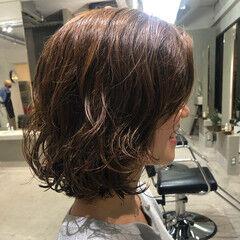 フェミニン 外ハネボブ ボブ デジタルパーマ ヘアスタイルや髪型の写真・画像