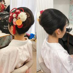 ハーフアップ セミロング ヘアセット 成人式ヘア ヘアスタイルや髪型の写真・画像